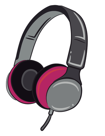 A wired headphone in grey and pink color vector color drawing or illustration Ilustração
