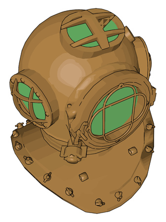 It is a rigid head metallic enclosed with a breathing gas supply used in under water diving by professional divers can be used with scuba equipment vector color drawing or illustration