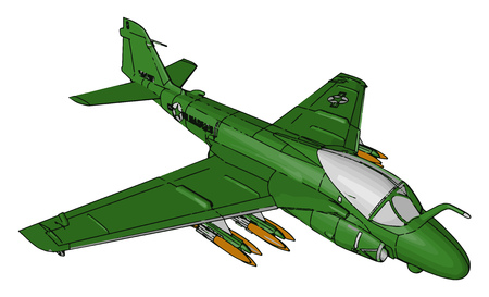 A fighter aircraft is a military aircraft designed primarily for air-to-air combat against other aircraft loaded with missile mainly used in war vector color drawing or illustration