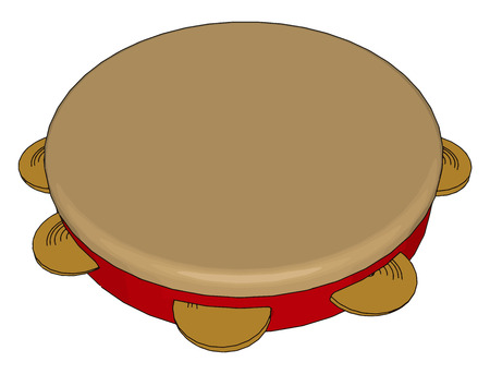 The tambourine is a musical instrument in the percussion family consisting of a frame often of wood or plastic with pairs of small metal jingles called zills vector color drawing or illustration Çizim
