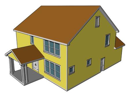 Una casa de campo es un edificio que sirve como residencia principal en un entorno rural o agrícola.A menudo se combina con un espacio para animales llamado casa, granero, dibujo en color vectorial o ilustración. Ilustración de vector
