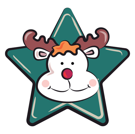 Red nosed reindeer on a blue star for Christmas decoration vector color drawing or illustration