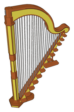 Harps have strings of catgut nylon metal or some combination Basic components of harps are a neck resonator and strings vector color drawing or illustration