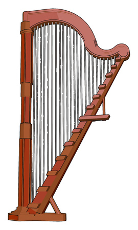The harp is a stringed musical instrument that has number of individual strings running at an angle to its soundboard It is made up of wooden vector color drawing or illustration Ilustração