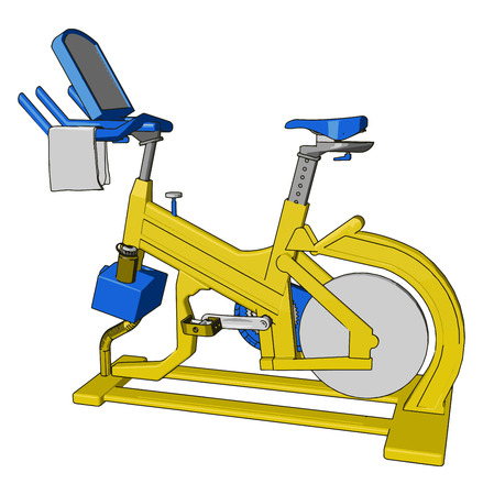 A spinning bike makes you muscle tight can be used for healthy heart reduce belly fat reduce toxins of body through sweat and body building vector color drawing or illustration
