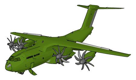 Ein Flugzeug ist eine Maschine, die in der Lage ist zu fliegen, indem sie Unterstützung aus der Luft erhält. Es wirkt der Schwerkraft entgegen, indem es entweder statischen Auftrieb oder den dynamischen Auftrieb einer Tragflächenvektor-Farbzeichnung oder Illustration nutzt