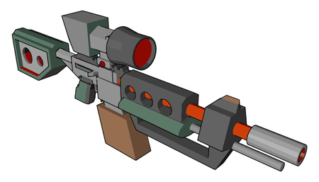 A gun is a ranged weapon designed to pneumatically discharge bullet It is very dangerous and sign of war It is used by military police and security guards vector color drawing or illustration
