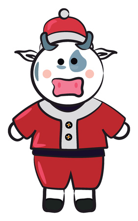 A cow is dressed in Santa Claus themed Christmas dress vector color drawing or illustration
