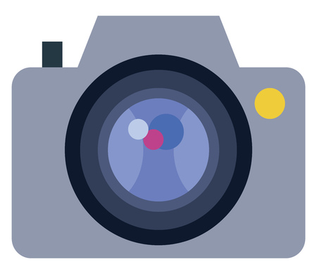 Illustration of a digital camera with focus lens and other operating buttons vector color drawing or illustration