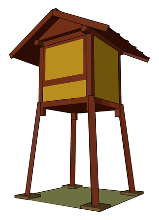 Hunting towers provide advantages in visibility for the user and depending of the structure of tower also provide shelter a seat and a surface on which to lean and steady one rifle vector color drawing or illustration