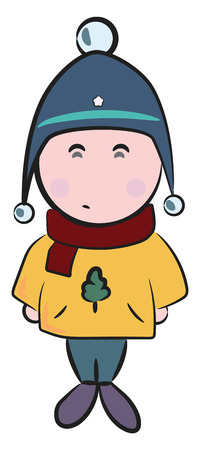 A boy dressed in warm winter clothes Covering his head with a festive head cap red scarf & Christmas tree printed on his sweater vector color drawing or illustration Illustration