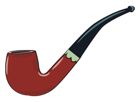 A classic brown and black tobacco pipe vector color drawing or illustration Ilustrace