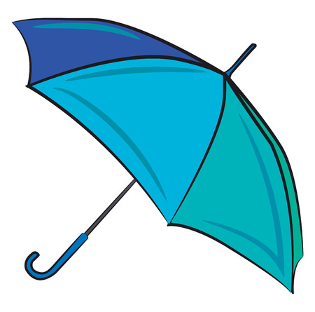 A big open umbrella in blue color vector color drawing or illustration