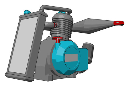 Small mechanical pump used in spraying in agricultural farm Manually started and powerful very efficient vector color drawing or illustration Illustration