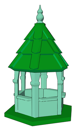 A small temple like enclosed structure having almost six pillars and one pointed green colored top It can be used for worship rest or sitting purpose vector color drawing or illustration