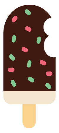 A vanilla flavored ice-cream on a stick dipped in chocolate with colorful sprinkles all over vector color drawing or illustration  イラスト・ベクター素材