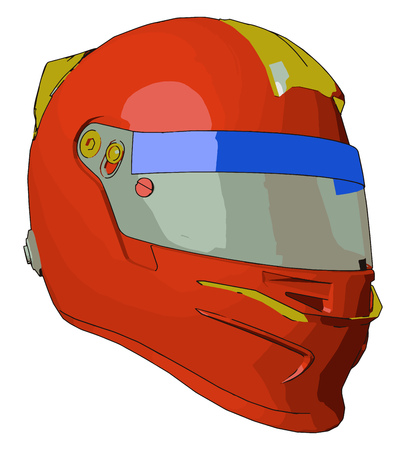 Helmet is a object made up of strong material It is used while driving motorcycle or cycle It gives protection from head injury if accident happen vector color drawing or illustration