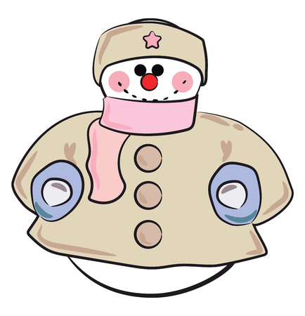 A snowman in warm winter cloth of grey jacket and pink scarf vector color drawing or illustration Çizim
