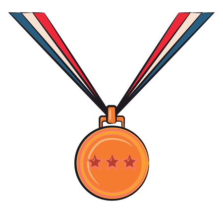 A three star golden medal for the winner vector color drawing or illustration