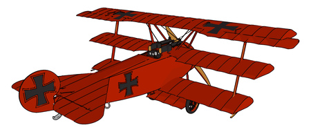 An airplane with three supporting wings one above another a design mainly in early history of the airplane vector color drawing or illustration 일러스트