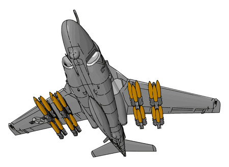 A Warplane also called slip fighter which chases the enemy and kill them with the missile vector color drawing or illustration 일러스트