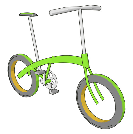 small bicycle with simple structure green in color with one seat two pedals and two wheels Very user friendly cheaper light transport vehicle vector color drawing or illustration