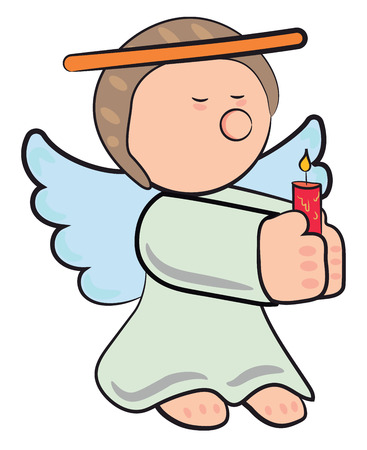 An angel in light blue dress with nimbus in her head holding a burring candle with her both hands vector color drawing or illustration