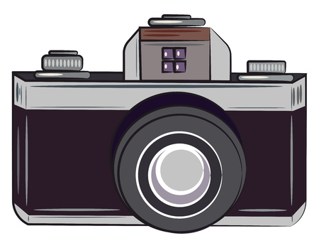 Blue color silhouette of a modern day automatic camera vector color drawing or illustration