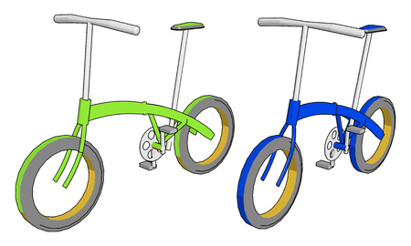 Green and Blue colored cycles with very basic components like two pedals two wheels handles and one seat very easy to ride on road vector color drawing or illustration Illustration
