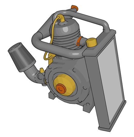 Pump is very useful innovation by engineer It operated by mechanical power or electricity It is very useful in agriculture and other transport vehicle vector color drawing or illustration