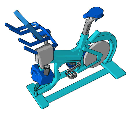 It also known as spinning bike exercise bike or exercise used for weightless body care complete wellbeing by both man or female vector color drawing or illustration