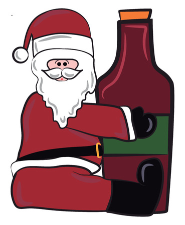 Santa Claus with a unopened bottle of red wine vector color drawing or illustration
