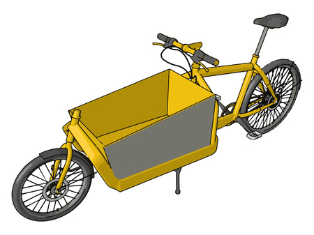 A different type of bike or cycle which have basket in middle of the two wheels not in front side of rear wheel Basket is yellow in color and big also vector color drawing or illustration