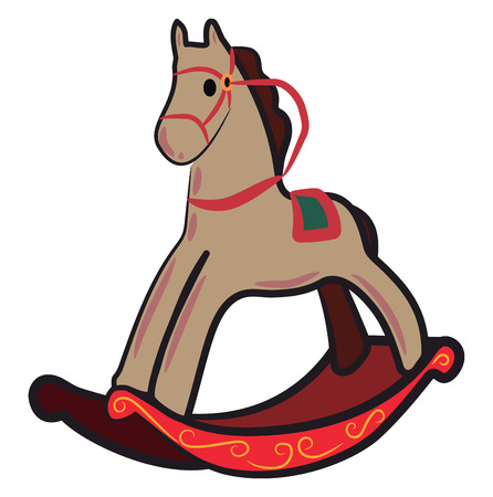 A rocking horse toy for kids as Christmas gift vector color drawing or illustration