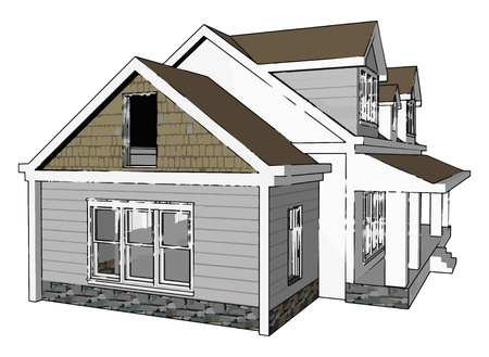 A cottage is typically a small house it may carry the connotation of being an old or old fashioned building In modern usage a cottage is usually a modest offend cozy dwelling typically in a rural or semi urban location vector color drawing or illustration Çizim