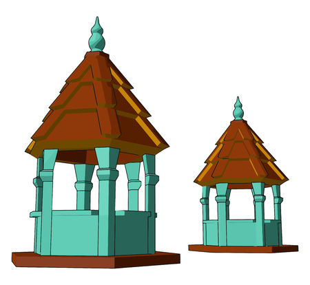 Two hexagonal half enclosed structures Small Sculptures side by side one is bigger than other They have simple and good design vector color drawing or illustration