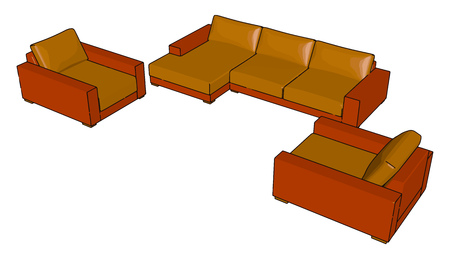 A couch also known as a sofa or settee is a piece of furniture for sitting with comfort may be used for sleeping also vector color drawing or illustration Illustration