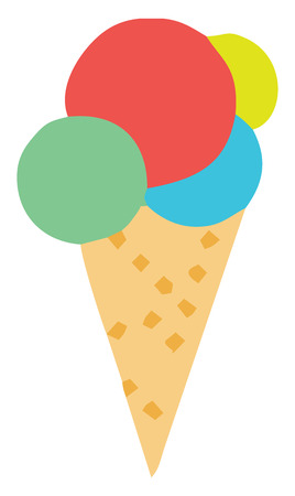 An ice-cream cone with four scoops of different flavors of redgreenyellow & blue color vector color drawing or illustration