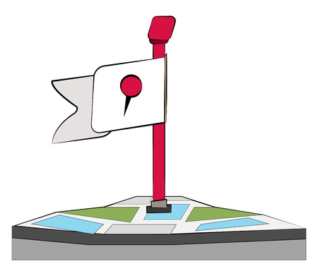 A location marker or post on a map it has red stand & a white flag with logo generally used for gps vector color drawing or illustration