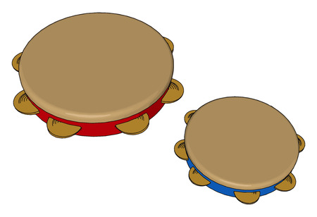 The tambourine can be held in the hand or mounted on a stand and can be played in numerous ways from strocking or shaking the jingles to striking it sharply with the hand or a stick vector color drawing or illustration