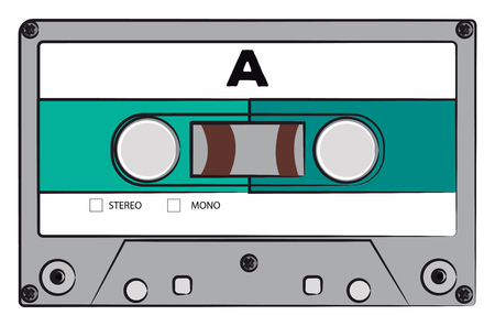 A classic stereo audio cassette with blue label vector color drawing or illustration