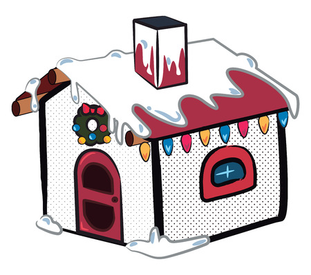 A snow house decorated in Christmas theme with colorful lights vector color drawing or illustration
