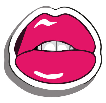 Picture of someone biting her lips painted in red lipstick with white teeth vector color drawing or illustration Stockfoto - 120989057