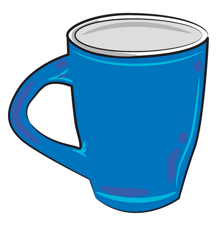 A blue glass or mug to serve beverage vector color drawing or illustration Illustration