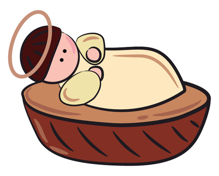 Birth of baby Jesus in a basket with a glowing golden nimbus above his head vector color drawing or illustration Ilustracja