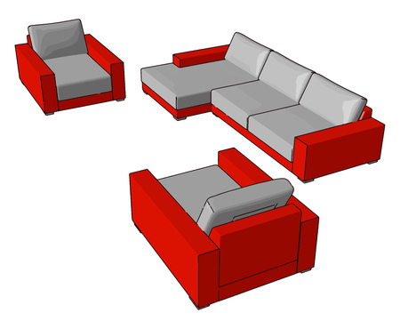 Couches are normally kept in living room den hotels waiting rooms bars lobbies of commercial offices It consists of frame padding and covering vector color drawing or illustration Illustration
