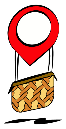 An air balloon which looks like a localization symbol and has a brown basket is flying over vector color drawing or illustration