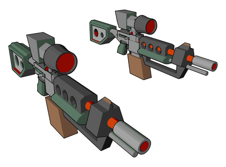 Sniper gun for shooting the target It destroy the target by bullet Gun increases the crime and bad for society vector color drawing or illustration