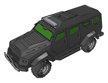 Military light utility vehicle is a lightest weight class military vehicle category vector color drawing or illustration 스톡 콘텐츠 - 123451841