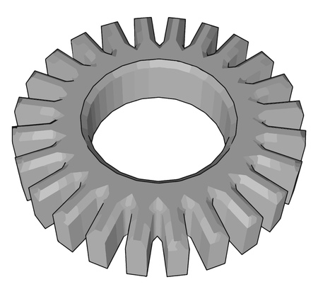 The spur gears are the most common type of gears have straight teeth and are mounted on parallel shafts vector color drawing or illustration